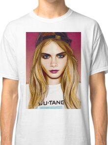 Cara Delevingne pencil portrait 4 Classic T-Shirt