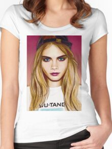 Cara Delevingne pencil portrait 4 Women's Fitted Scoop T-Shirt