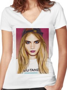 Cara Delevingne pencil portrait 4 Women's Fitted V-Neck T-Shirt