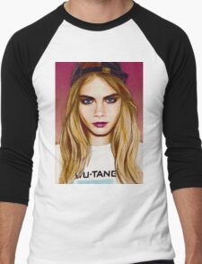 Cara Delevingne pencil portrait 4 Men's Baseball ¾ T-Shirt