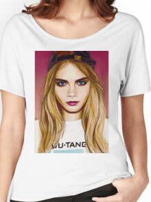Cara Delevingne pencil portrait 4 Women's Relaxed Fit T-Shirt