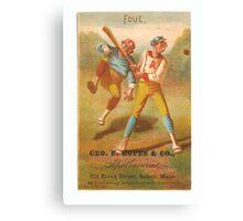 "Vintage Baseball Card ""Foul""  Canvas Print"
