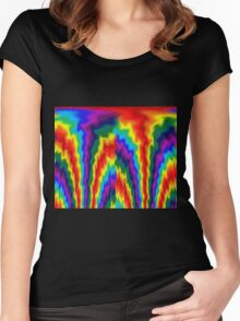 Flaming Rainbow  Women's Fitted Scoop T-Shirt