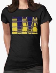 Yellow and blue abstract ladder Womens Fitted T-Shirt