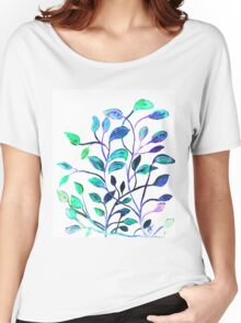 Shiny Silver Teal Leaves Women's Relaxed Fit T-Shirt