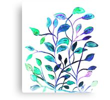 Shiny Silver Teal Leaves Canvas Print