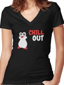 Chill Out - Penguin Women's Fitted V-Neck T-Shirt