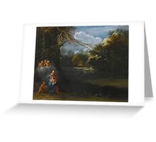 Circle of Adam Elsheimer THE MADONNA AND CHILD IN A LANDSCAPE WITH ANGELS. Greeting Card
