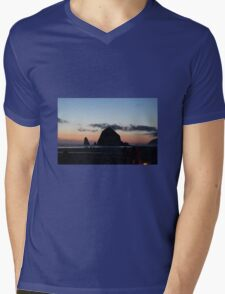 Haystack Rock at Cannon Beach, OR Mens V-Neck T-Shirt