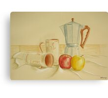 Still life with coffee cups and apples Canvas Print