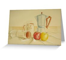 Still life with coffee cups and apples Greeting Card