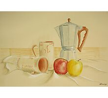 Still life with coffee cups and apples Photographic Print