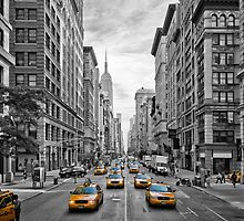 5th Avenue Yellow Cabs - NYC by Melanie Viola