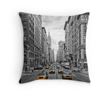 5th Avenue Yellow Cabs - NYC Throw Pillow