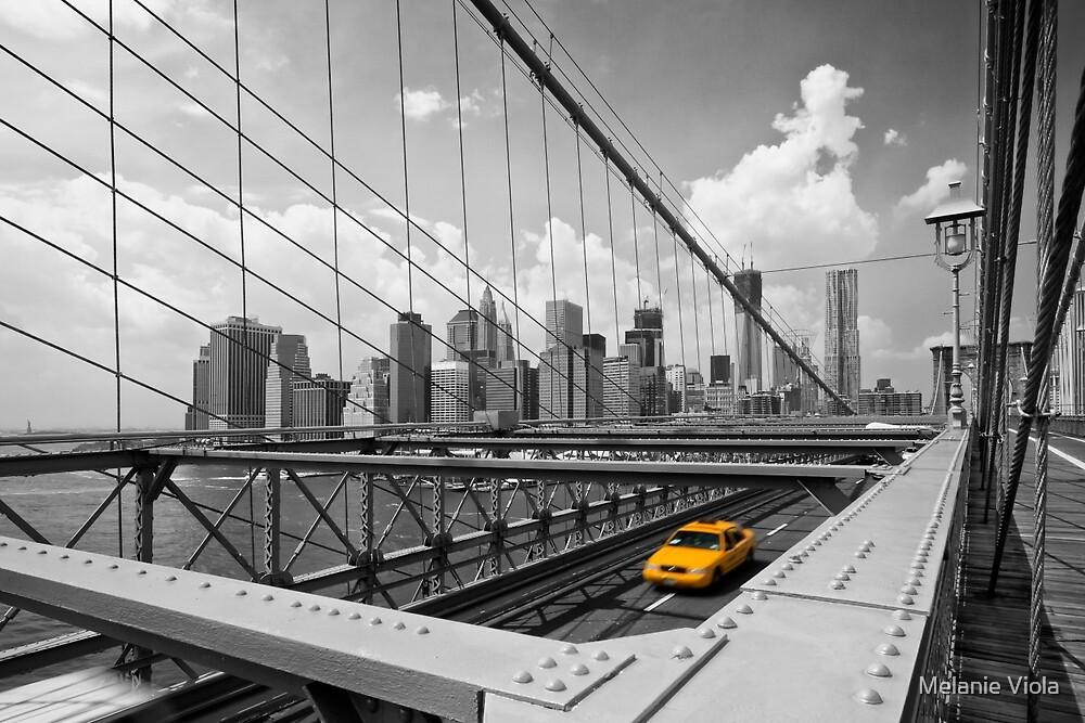 Yellow Cab & Brooklyn Bridge by Melanie Viola