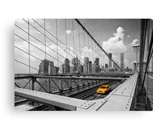 Yellow Cab & Brooklyn Bridge Canvas Print