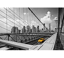 Yellow Cab & Brooklyn Bridge Photographic Print