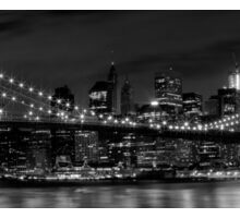 Night-Skyline NEW YORK CITY b&w Sticker