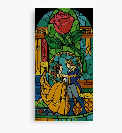 Beauty and The Beast - Stained Glass Canvas Print