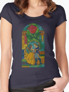 Beauty and The Beast - Stained Glass Women's Fitted Scoop T-Shirt