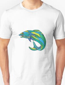Atlantic Salmon Jumping Drawing T-Shirt