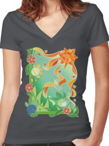 PKM Sun Stone Frolic Women's Fitted V-Neck T-Shirt