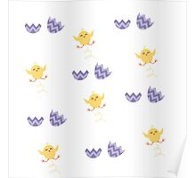 cute hatching chick eggs Poster