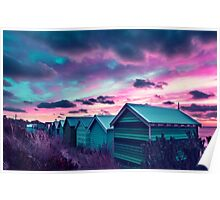 Brighton Beach Sunset Poster
