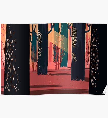 Flat Stamp Forest Poster
