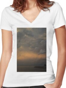 Moody Storm Sky Women's Fitted V-Neck T-Shirt