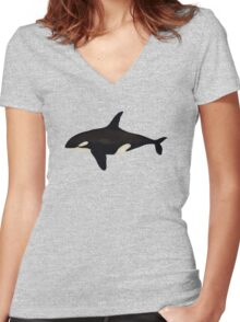 Killer whale Women's Fitted V-Neck T-Shirt