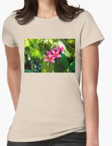 Tropical Impressions - Vivid Pink Plumeria Blossoms Womens Fitted T-Shirt