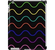 multi color wavy lines (black) iPad Case/Skin