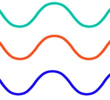 multi color wavy lines (white) Sticker