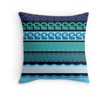 Blue Waves Pattern Throw Pillow