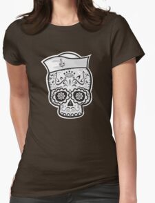 Marinero muerto sugar skull Womens Fitted T-Shirt