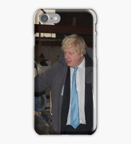 London Mayor,Boris Johnson, tests out London's largest open workshop as he tries welding a bicycle frame with Rob Quirk helping him iPhone Case/Skin