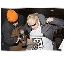 London Mayor,Boris Johnson, tests out London's largest open workshop as he tries welding a bicycle frame with Rob Quirk helping him Poster