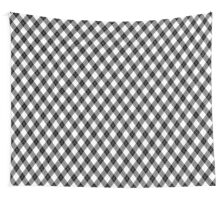 Argyll Diamond Weave Plaid Tartan in Black and White Pattern Wall Tapestry