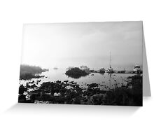 Foggy Harbor North Shore 4 Bw Greeting Card