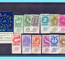 Full set of Israeli Zodiac stamps series from 1961 by PhotoStock-Isra