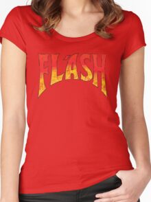 Flash Gordon - Gradient Distressed red yellow Logo Women's Fitted Scoop T-Shirt