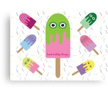 Adorable Ice-cream and sprinkles Canvas Print
