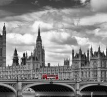 LONDON River Thames and Red Buses on Westminster Bridge Sticker