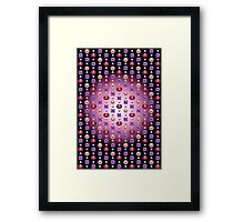 Precious Stones Mosaic 2 - Digital illustration of original hand rendered precious stones. Rose gradient on black background. Framed Print
