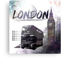 Digital-Art LONDON COMPOSING Big Ben and Red Bus Canvas Print