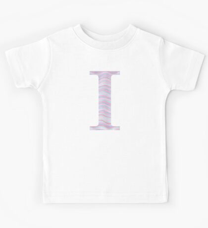 Initial I Rose Quartz And Serenity Pink Blue Wavy Lines Kids Tee