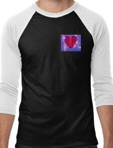 Red heart on blue background Men's Baseball ¾ T-Shirt