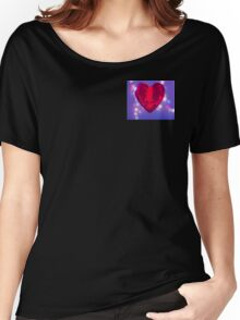 Red heart on blue background Women's Relaxed Fit T-Shirt