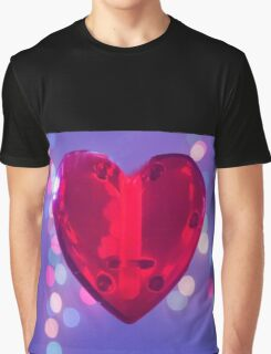 Red heart on blue background Graphic T-Shirt
